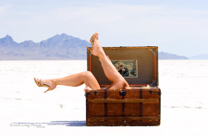Glamour photo of a steamer trunk at the Salt Flats.